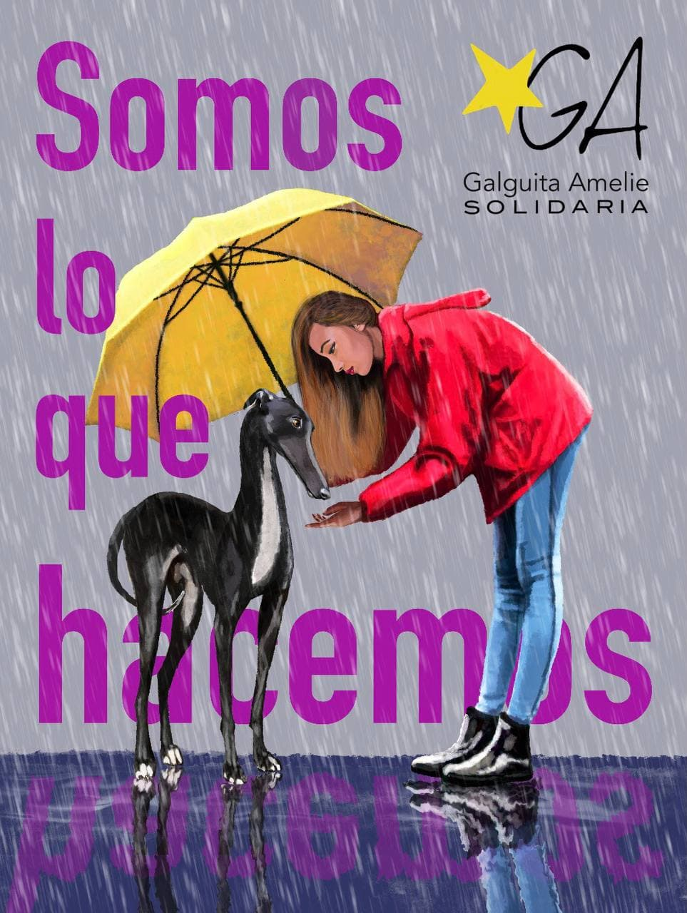Llueve, y una chica ofrece un paraguas y su cariño a un galgo